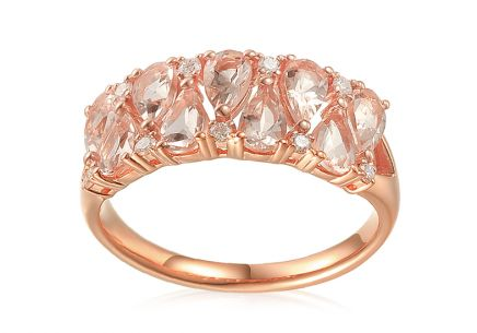 Morganit Ring aus Roségold mit Brillanten 0,120 ct