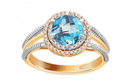 Topas Ring mit Diamanten 0,140 ct Cammy