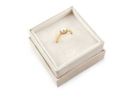 Gold Perlen Ring mit Zirkonen Loreen 4