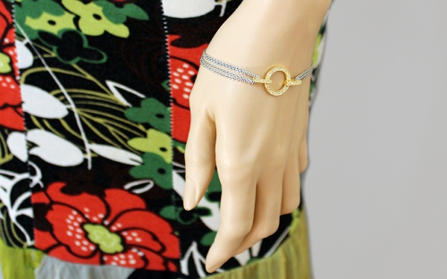 Silberarmband Golden Ring mit Zirkonen - IS1127
