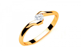 Verlobungsring mit Diamanten 0,090 ct Lines Of Love 7 Yellow