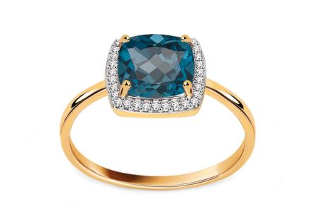 Ring mit Brillanten und London Blue Topas