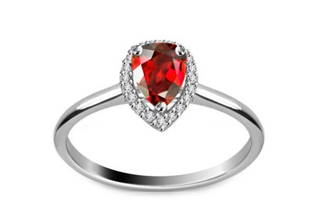 Diamantring Victorian red Drop 0,080 ct
