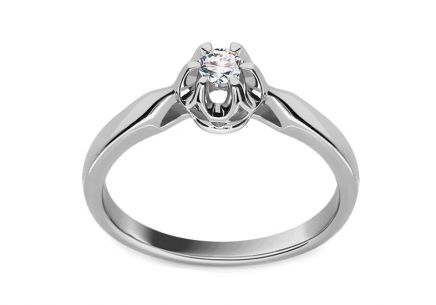 Verlobungsring Crown mit Brillanten 0,090 ct White