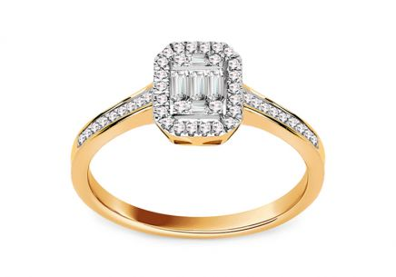 Brillant Verlobungsring mit Baguette Diamanten aus der Kollektion New York