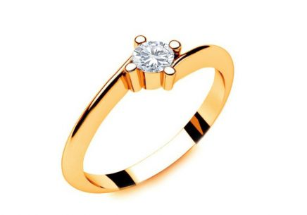 Verlobungsring mit Diamanten 0,100 ct Lines Of Love 2 Yellow