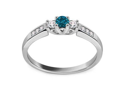 Verlobungsring mit Diamanten 0.230 ct Blue Diamond